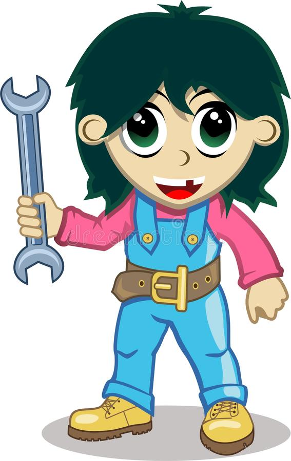 Mechanic. The image of the young mechanic in overalls and yellow boots with spanner in hand royalty free illustration