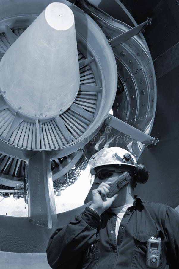 Mechanic And Jet Engines Stock Images