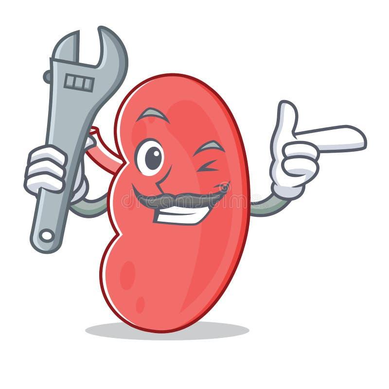 Mechanic kidney mascot cartoon style royalty free illustration