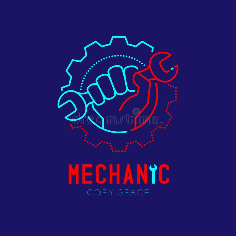 Mechanic logo icon, hand hold wrench in gear frame outline stroke set dash line design illustration. Isolated on dark blue background with Mechanic text and vector illustration