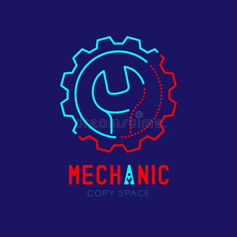 Mechanic logo icon, wrench in gear frame outline stroke set dash line design illustration. Isolated on dark blue background with Mechanic text and copy space vector illustration