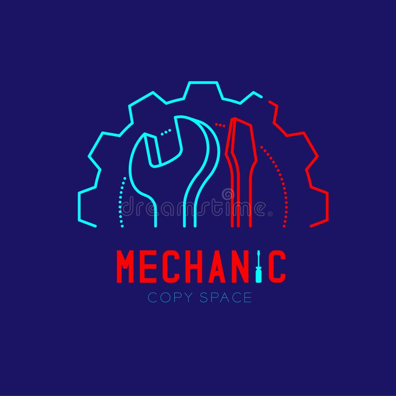Mechanic logo icon, wrench and screwdriver in gear frame outline stroke set dash line design illustration. Isolated on dark blue background with Mechanic text vector illustration