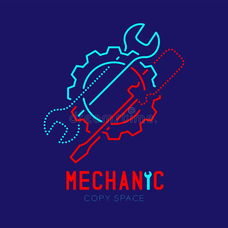 Mechanic logo icon, wrench and screwdriver in gear frame outline stroke set dash line design illustration. Isolated on dark blue background with Mechanic text stock illustration