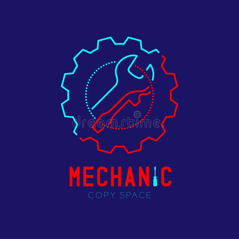 Mechanic logo icon, wrench and screwdriver in gear frame outline stroke set dash line design illustration. Isolated on dark blue background with Mechanic text royalty free illustration