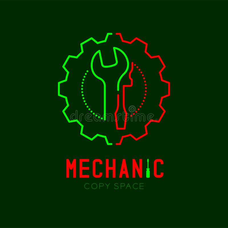 Mechanic logo icon, wrench and screwdriver in gear frame outline stroke set dash line design illustration. Isolated on dark green background with Mechanic text stock illustration