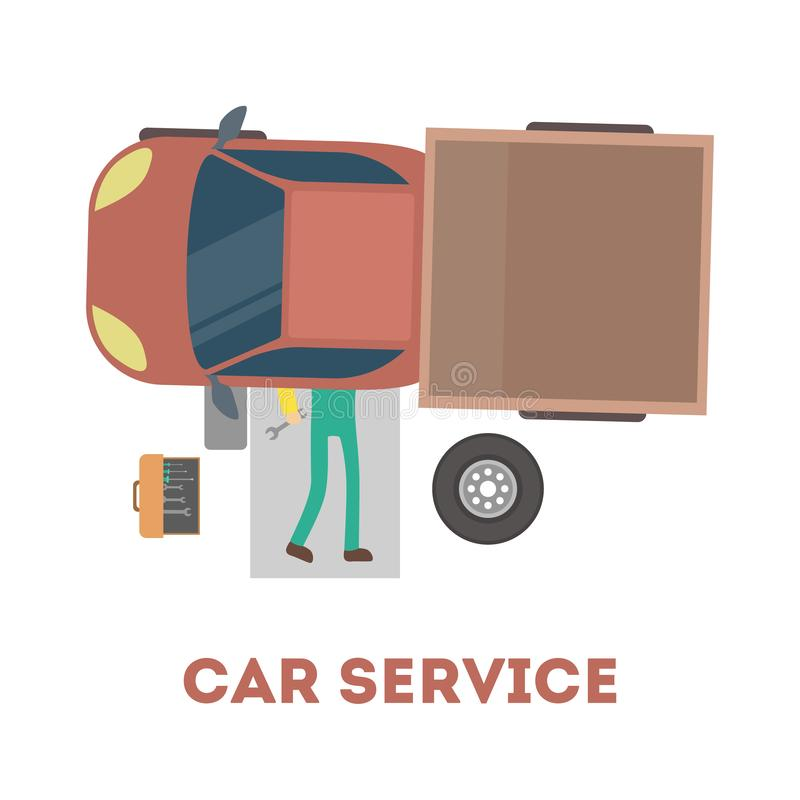 Mechanic lying under car and repairing automobile. vector illustration