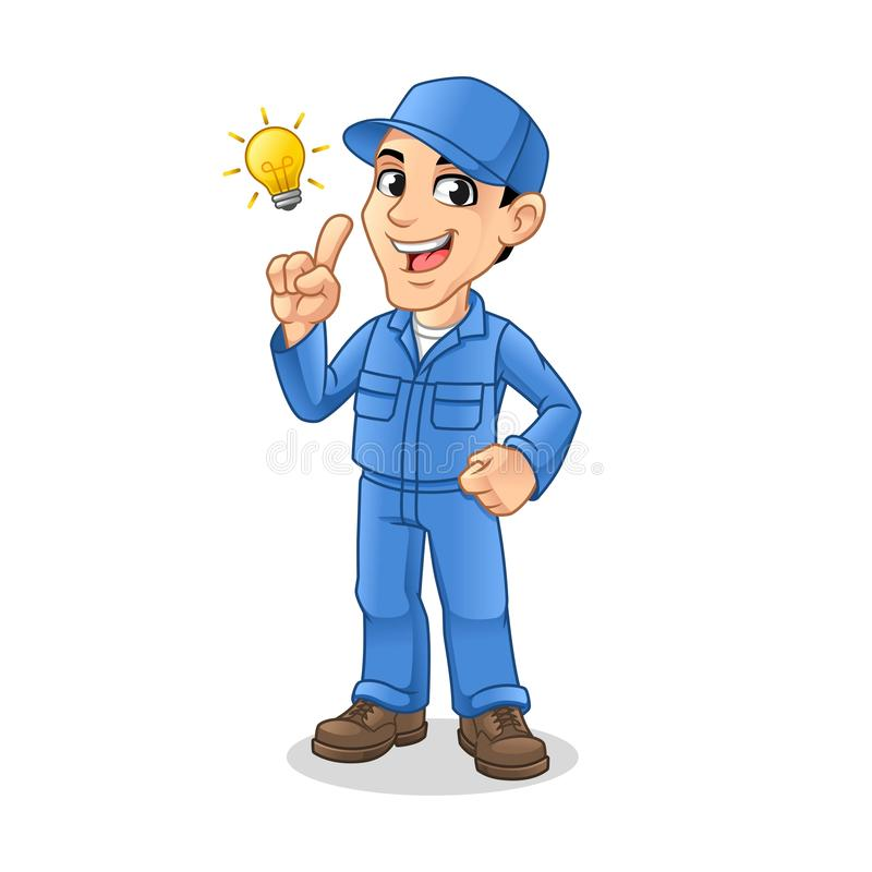 Mechanic Man Get an Idea with Light Bulb royalty free illustration