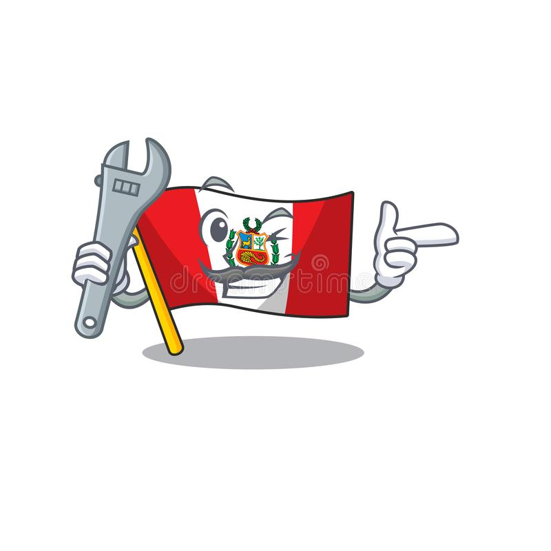 Mechanic peru flag stored in character drawer. Vector illustration stock illustration