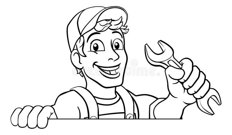 cartoon mechanic and scroll stock vector  illustration of