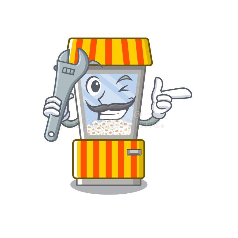 Mechanic popcorn vending machine in mascot shape. Vector illustration vector illustration