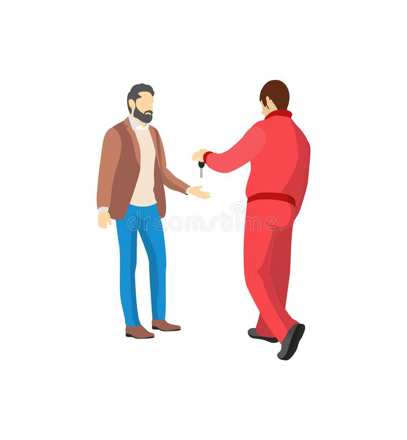 Mechanic in Red Overalls Giving Key from Vehicle vector illustration