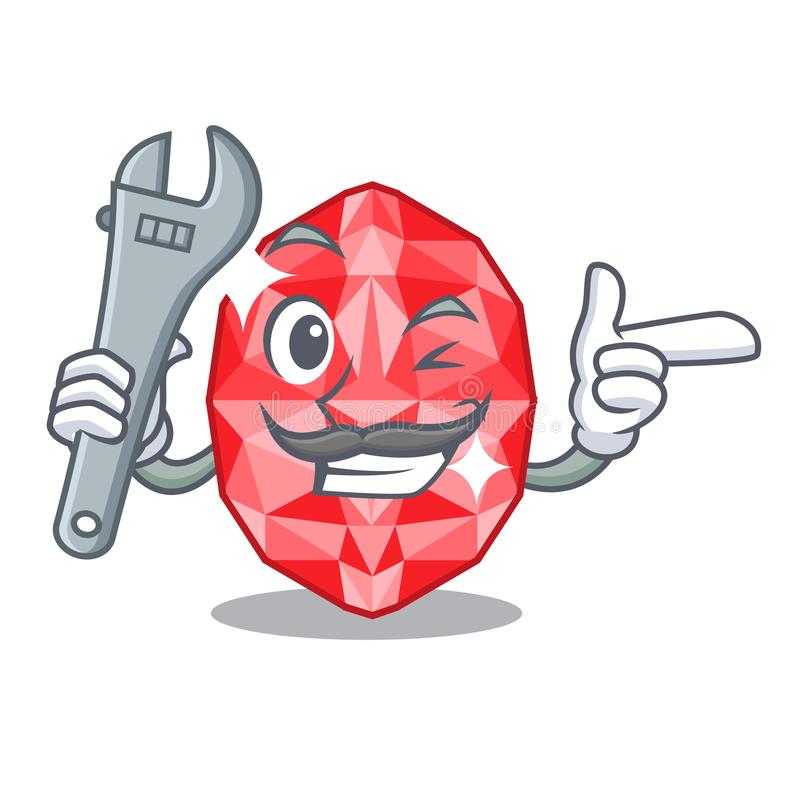 Mechanic ruby gems in the mascot shape. Vector illustration royalty free illustration