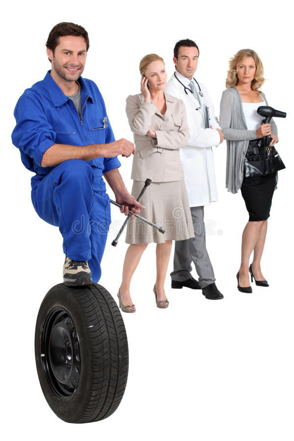 Mechanic, secretary, doctor and hairdresser. stock photography