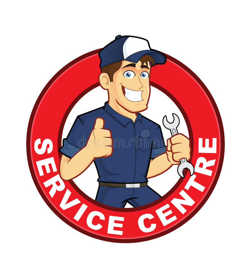 Mechanic Service Centre. Clipart picture of a mechanic service centre cartoon character stock illustration