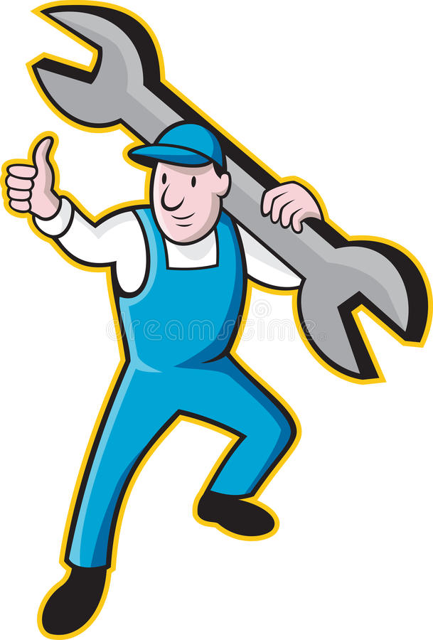 Mechanic With Spanner Thumbs Up royalty free illustration