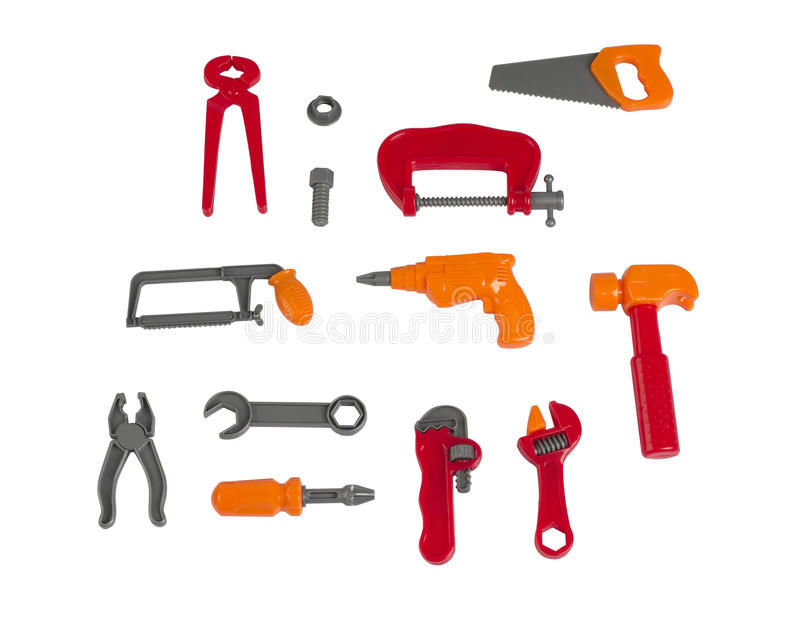Mechanic tools, children's plastic toy. Isolated on white background stock images