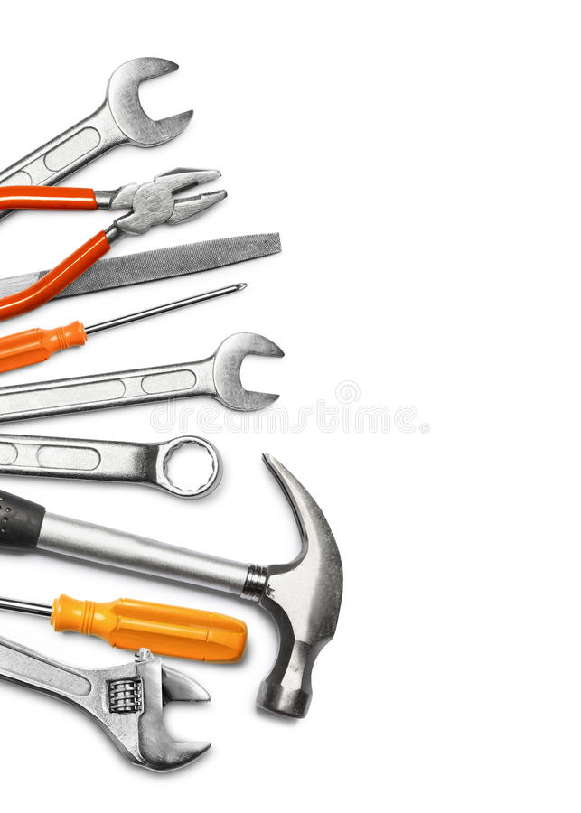 Download Mechanic tools on white stock photo. Image of hammer - 26361498