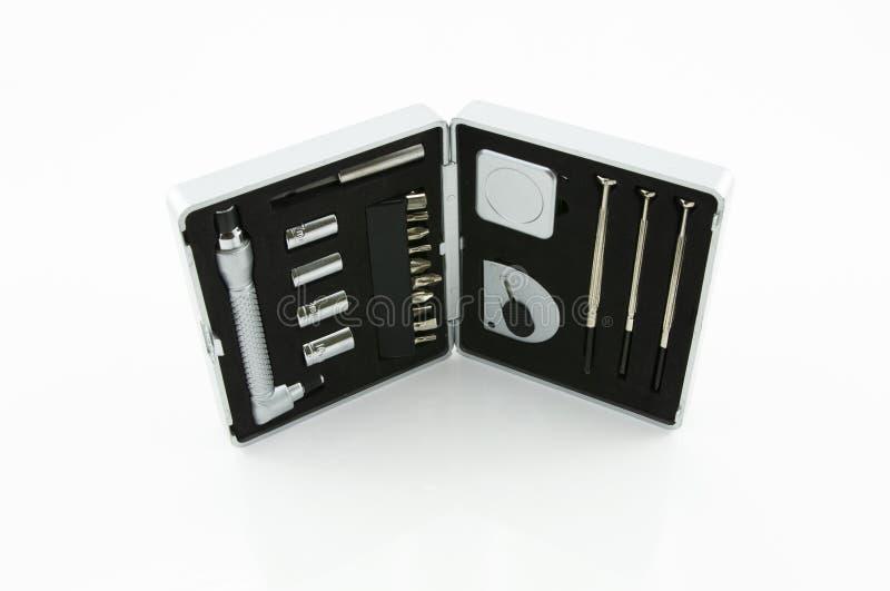 Mechanic tools on white background. stock photo