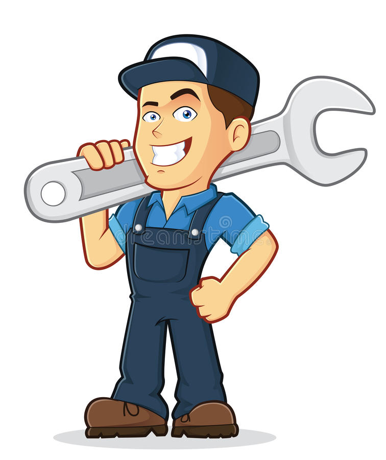 Mechanic. Vector clipart picture of a male mechanic cartoon character holding a huge wrench