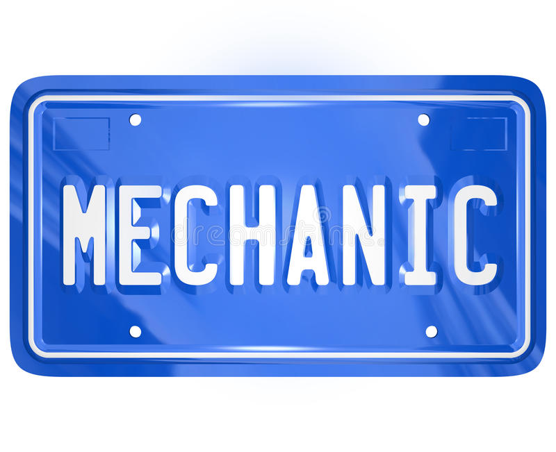Mechanic Word Vanity License Plate Auto Repair Shop Garage. Mechanic word on a blue metal vanity license plate for a car or automobile to illustrate a repair stock illustration