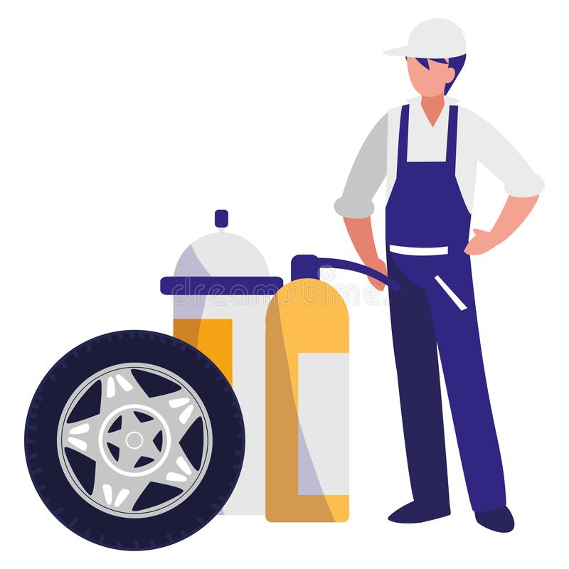 Mechanic worker with extinguisher fire and tire. Vector illustration design stock illustration