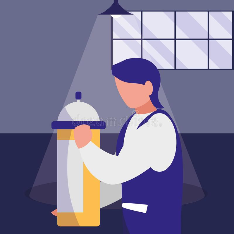 Mechanic worker with extinguisher fire. Vector illustration design stock illustration