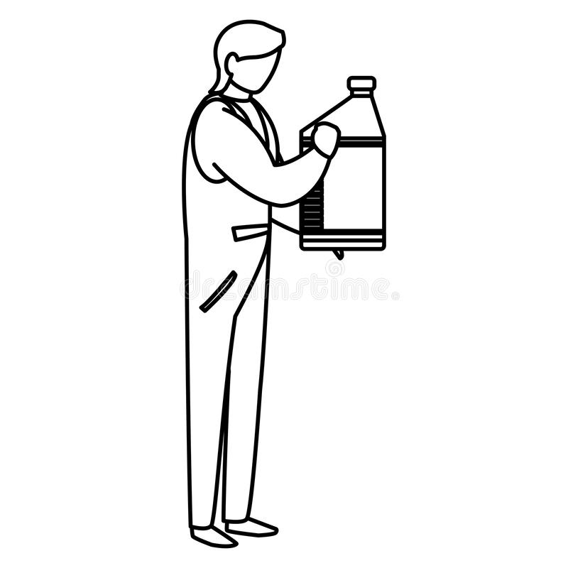 Mechanic worker with oil gallon stock illustration