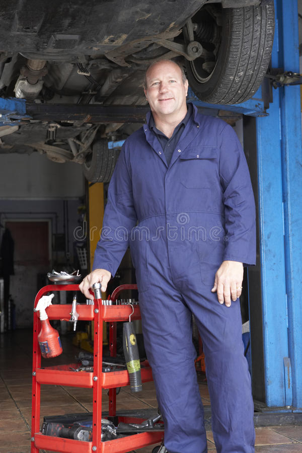 Mechanic working on car. Looking relaxed royalty free stock photo