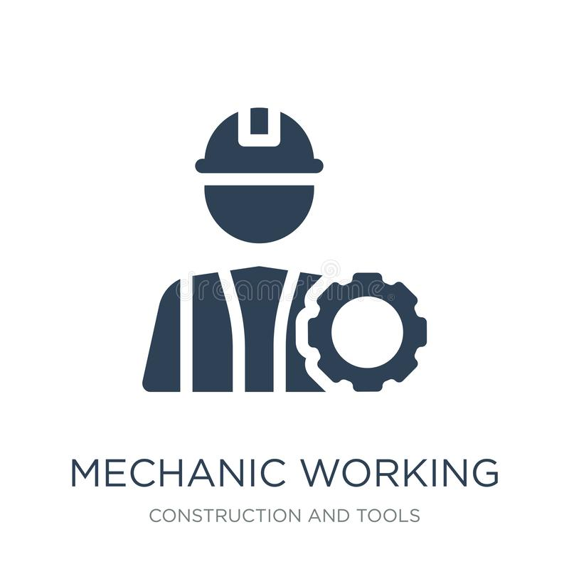 Mechanic working icon in trendy design style. mechanic working icon isolated on white background. mechanic working vector icon. Simple and modern flat symbol stock illustration
