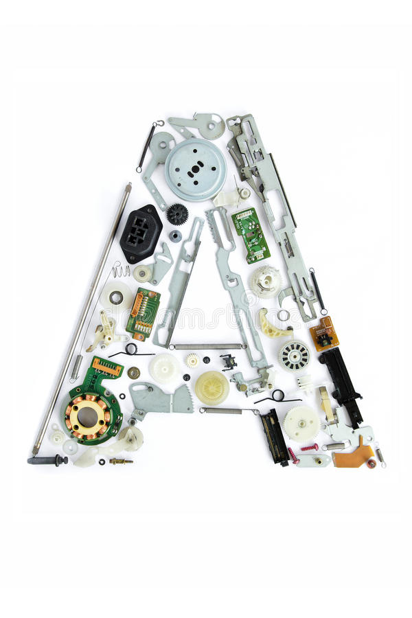 Mechanical alphabet made from electronic part. Letter a royalty free stock photography