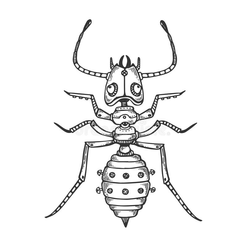 Mechanical ant animal engraving vector royalty free illustration
