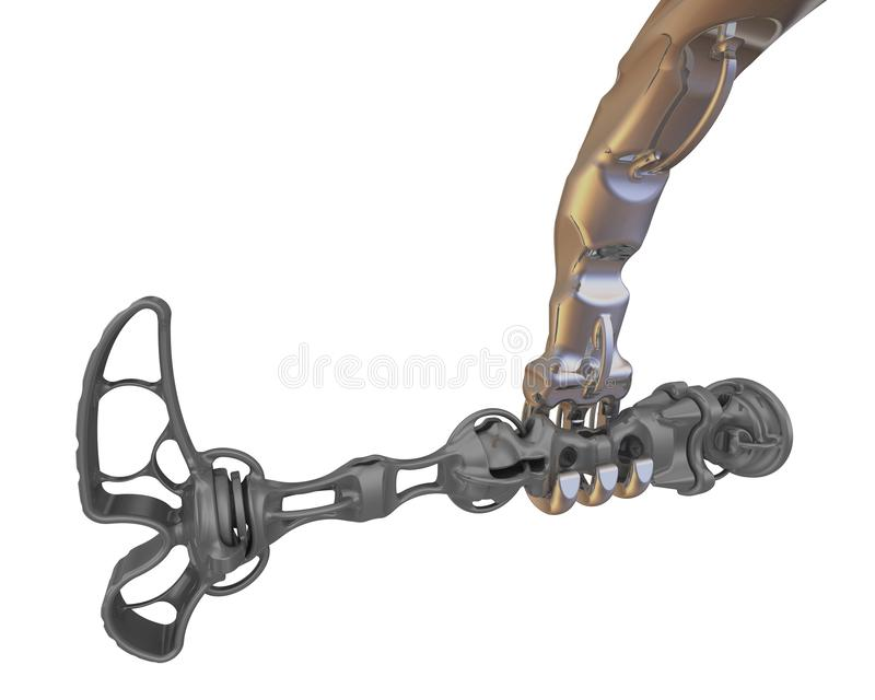 Mechanical arm holds mechanical leg. Part of cyborg: mechanical arm and leg. Isolated. 3D Illustration royalty free illustration