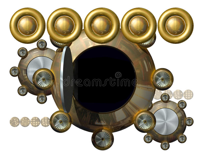 Mechanical banner. 3D illustration depicting hovering UFO like elements vector illustration