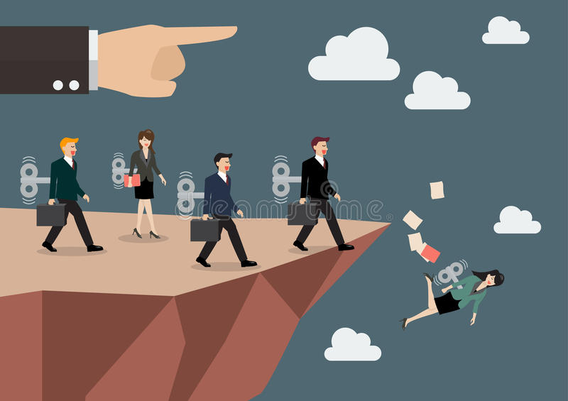 Mechanical business men and women walk straight into the abyss. Business concept royalty free illustration