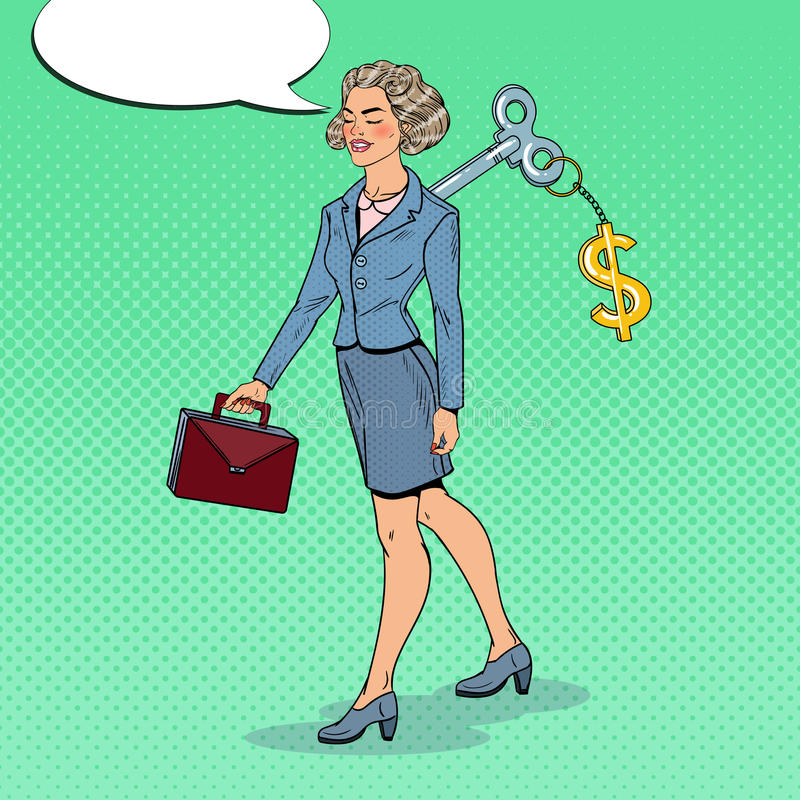 Mechanical Business Woman with Dollar Sign Key on her Back. Work Automation. Pop Art illustration vector illustration