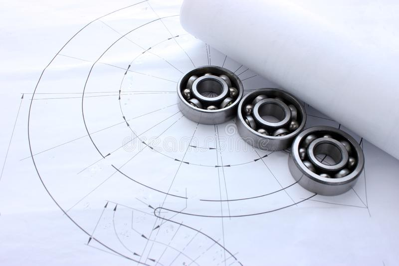 Mechanical circuit, bearings, working environment of engineer place for text royalty free stock photos