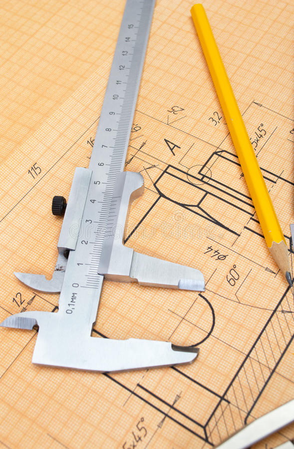 Mechanical circuit, ruler, calipers stock image