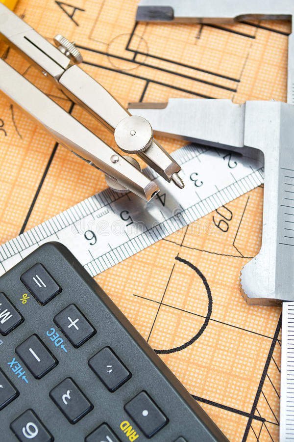 Mechanical circuit, ruler, compass, calipers royalty free stock images