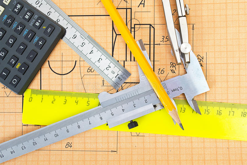 Mechanical circuit, ruler, compass, calipers royalty free stock photos