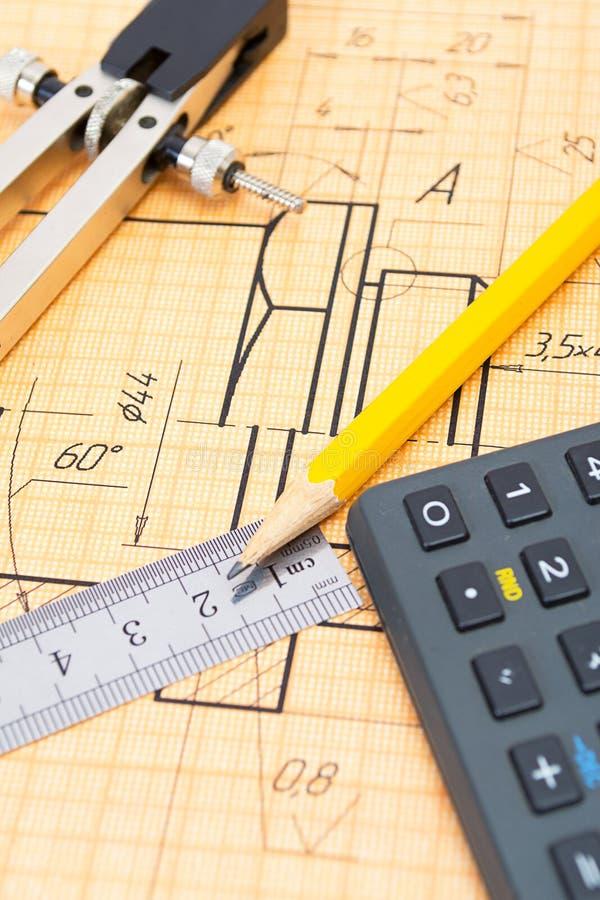Mechanical circuit, ruler, compass, calipers stock photo