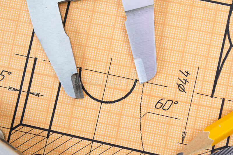 Mechanical circuit, ruler, compass, calipers stock photo