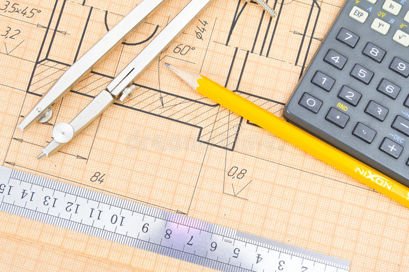 Mechanical circuit, a ruler, compass, calipers. stock photo