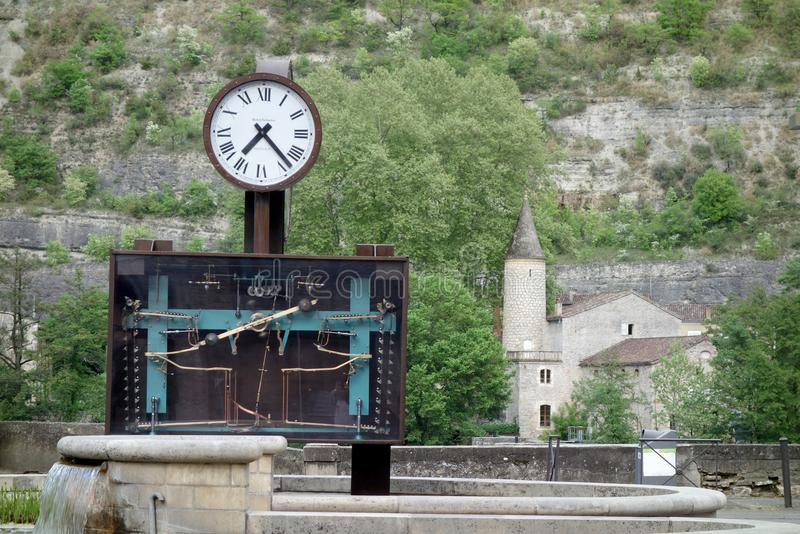 Mechanical clock in a square in Cahors, France royalty free stock photos