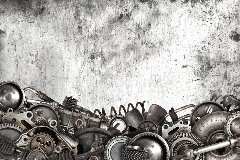 Collage made of old auto spare parts car stock photography