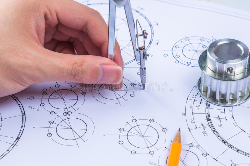 Mechanical Design Engineer in drawing stock images