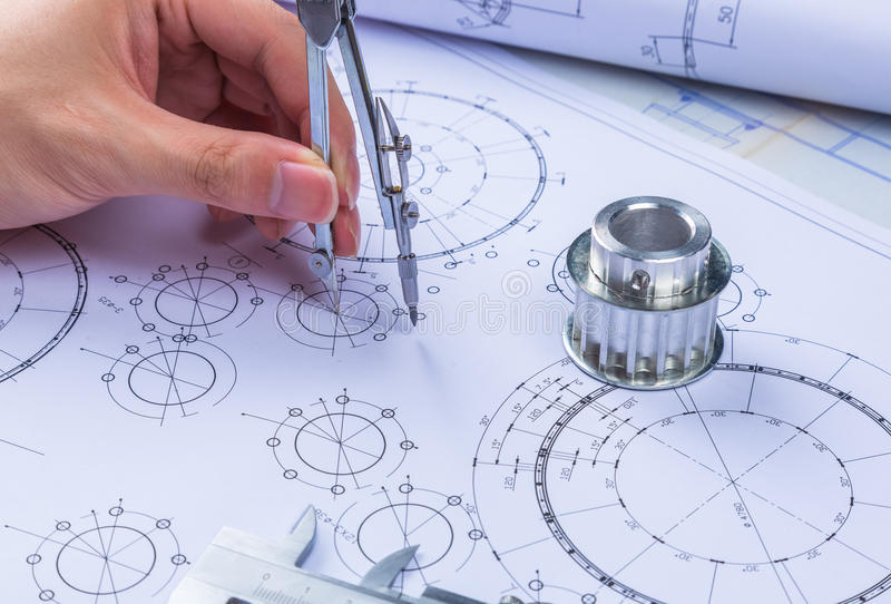 Mechanical Design Engineer in drawing stock photography