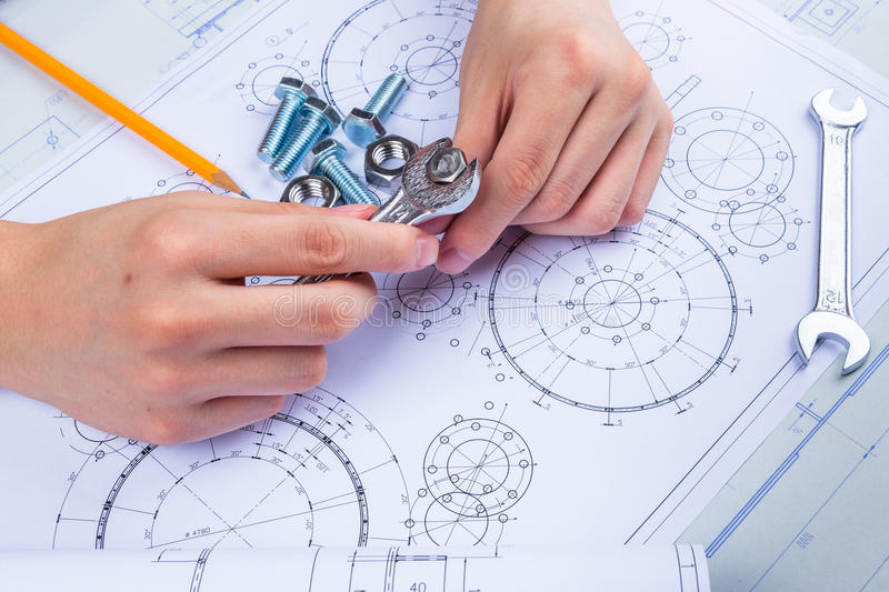 Mechanical Design Engineer in drawing stock image