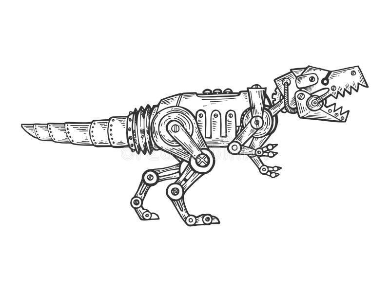 Mechanical dinosaur animal engraving vector. Mechanical Tyrannosaurus dinosaur animal engraving vector illustration. Scratch board style imitation. Black and stock illustration