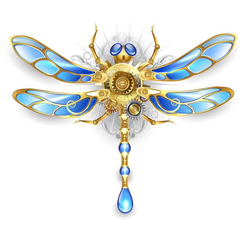 Mechanical dragonfly on a white background. Mechanical dragonfly wings with blue glass and bronze gears on a white background stock illustration