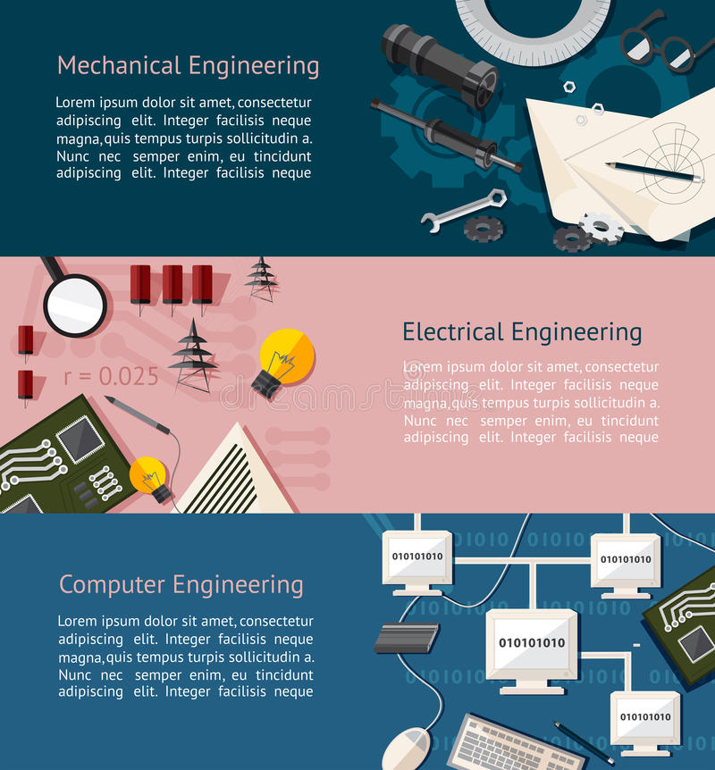 Mechanical, eletrical, computer engineering education infographic. Mechanical, electrical, and computer engineering education infographic banner template layout vector illustration